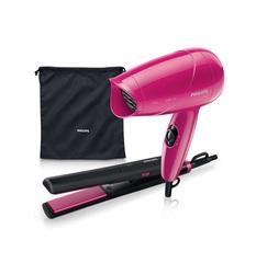 Plancha p/ cabello y secador Philips HP-8644 set de viaje